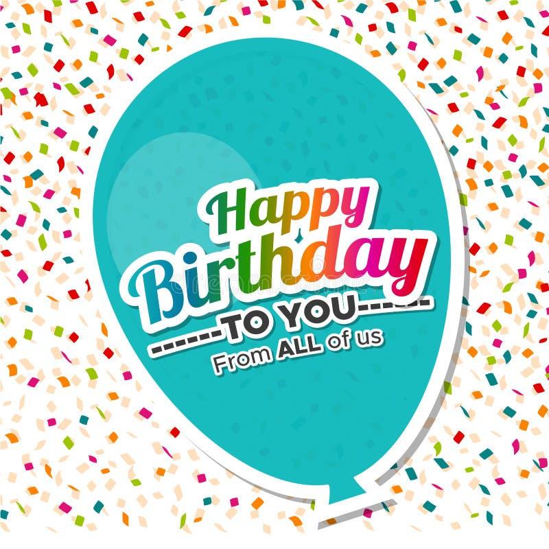 C днем рожденья с поздравительной открыткой воздушного шара бесплатная иллюстрация