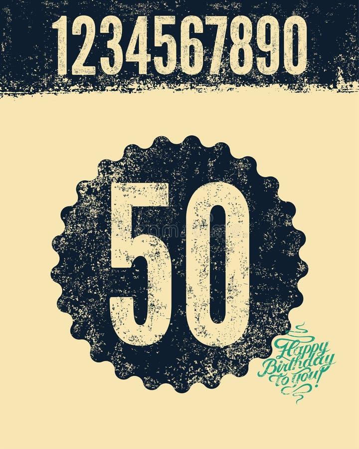 C днем рожденья! Типографская ретро поздравительая открытка ко дню рождения grunge с комплектом ретро цифров влияния прессы также иллюстрация штока