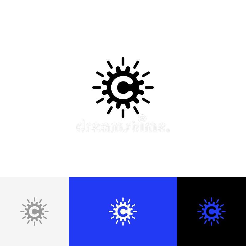 C с абстрактным вектором круга Логотип минимализма, значок, символ, знак от писем c иллюстрация вектора