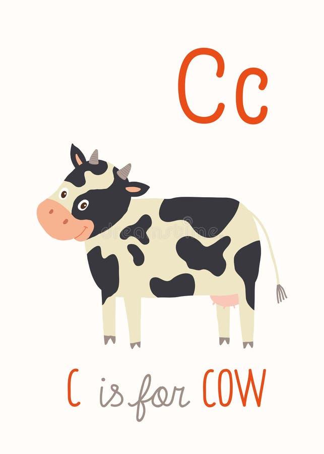 C для коровы ABC ягнится искусство стены Карточка алфавита фермы бесплатная иллюстрация