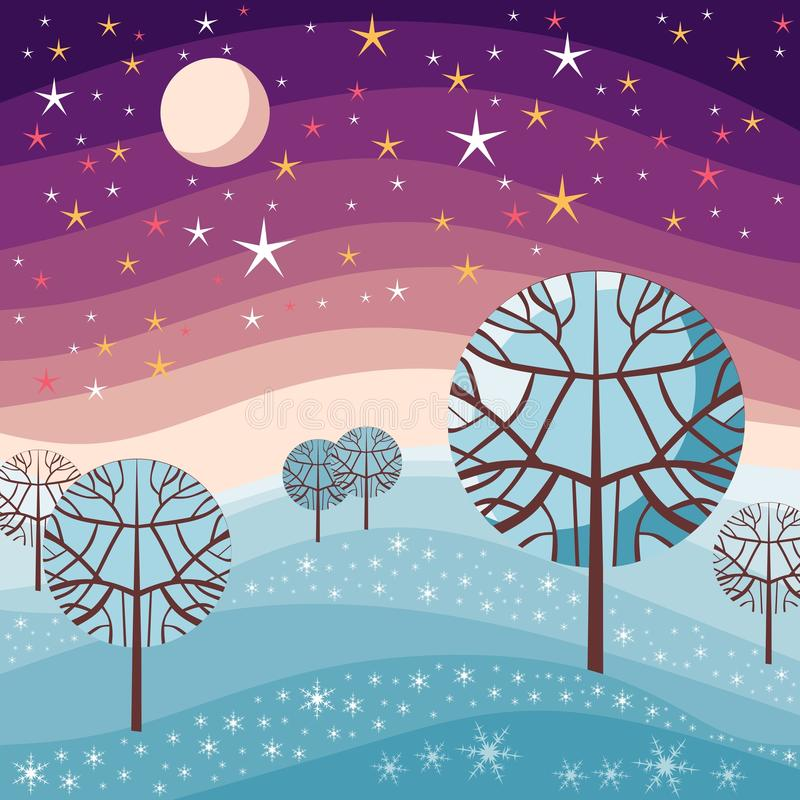 33c 1月横向俄国温度ural冬天 与雪、树、满天星斗的天空和月亮的夜场面 向量例证
