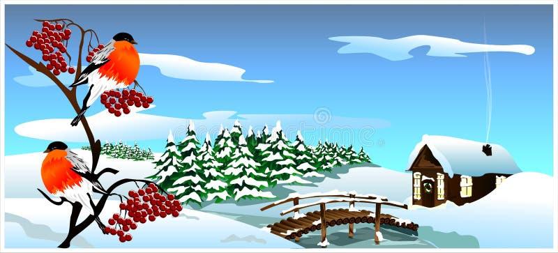 33c 1月横向俄国温度ural冬天 (传染媒介) 库存例证