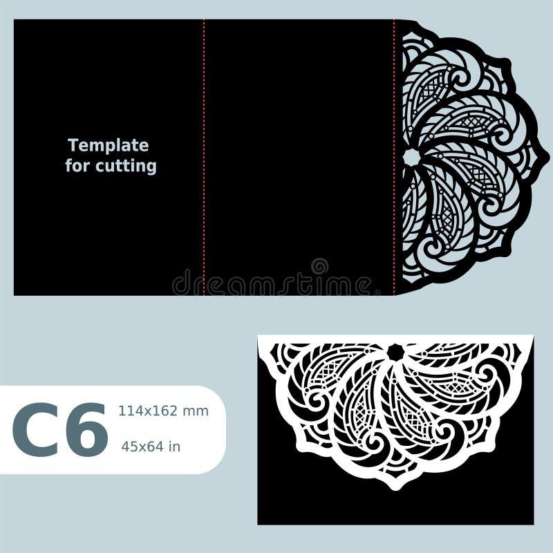 C6纸透雕细工贺卡,婚礼邀请,切开的,鞋带邀请,与折叠的卡片模板排行,被隔绝的对象 向量例证