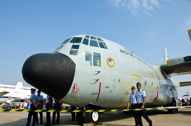 C-130 aircraft. BANGKOK - JANUARY 14 : C-130 on display at Don Muang Airshow, January 14, 2012, Don Muang Airport, Bangkok, Thailand stock images