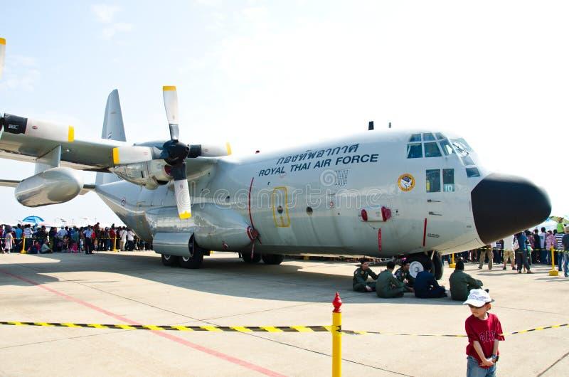 C-130 aircraft. BANGKOK - JANUARY 14 : C-130 on display at Don Muang Airshow, January 14, 2012, Don Muang Airport, Bangkok, Thailand stock photos