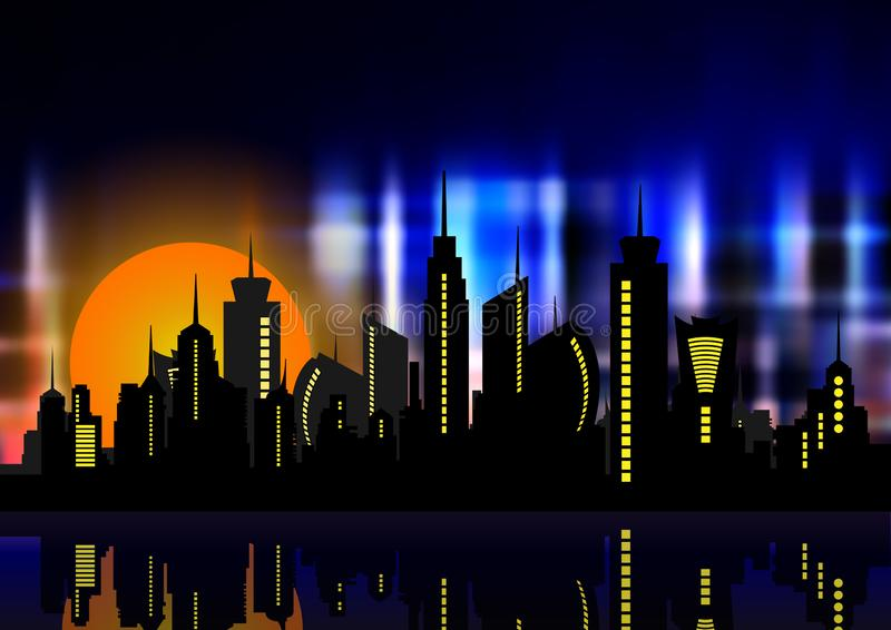 Futuristic city in neon lights. Retro Style 80s. Energy concept. Creative idea. Design background, colorful Night City Skyline vector illustration