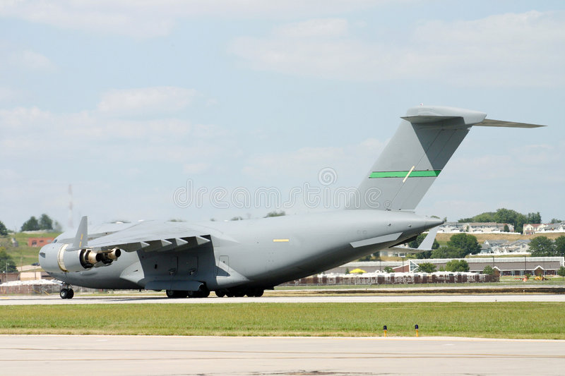 C-17 on the Runway. A C-17 Cargo plane on a runway at an airshow stock images