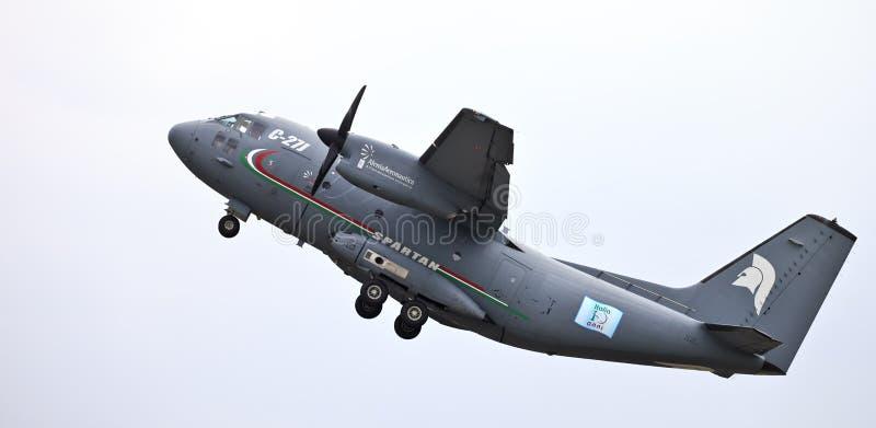 C-27J Spartan military transport. VARESE, ITA - MAY 14 - C-27J Spartan military transport take-off at Varese Airshow, 14 May 2011 stock images