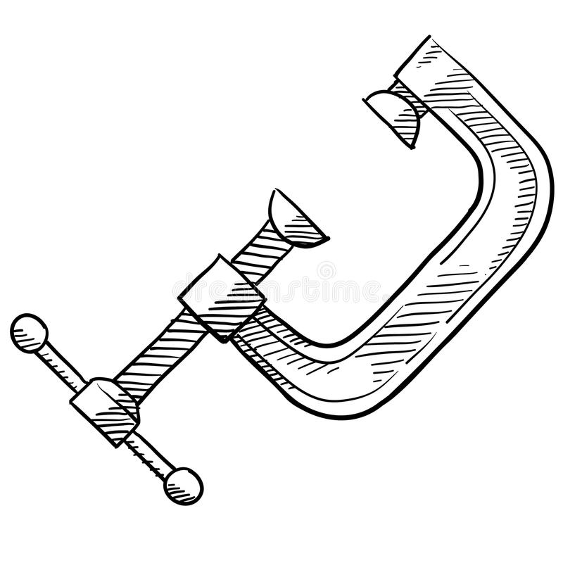 C aperta o esboço da ferramenta ilustração do vetor