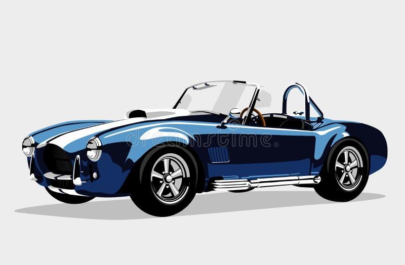 C.A. azul Shelby Cobra Roadster do carro do esporte clássico ilustração do vetor