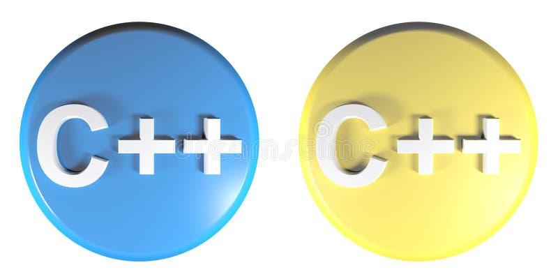 C++ błękitni i żółci okręgu pchnięcia guziki - 3D renderingu ilustracja ilustracja wektor