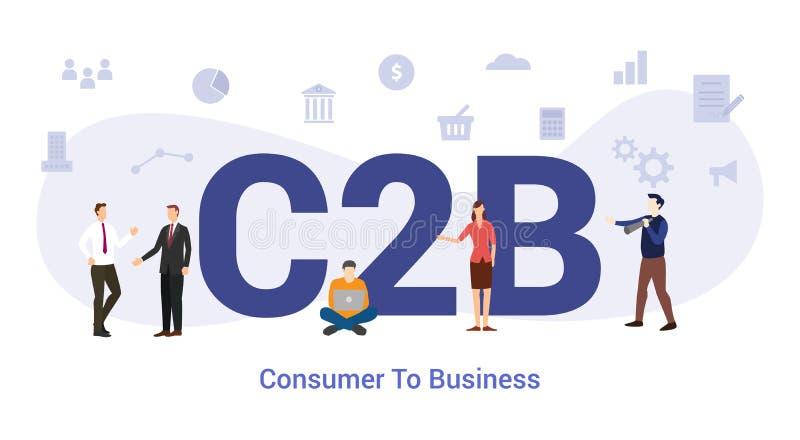 C2b concepto de consumidor a empresa con grandes palabras o texto y personas en equipo con estilo plano moderno - vector ilustración del vector