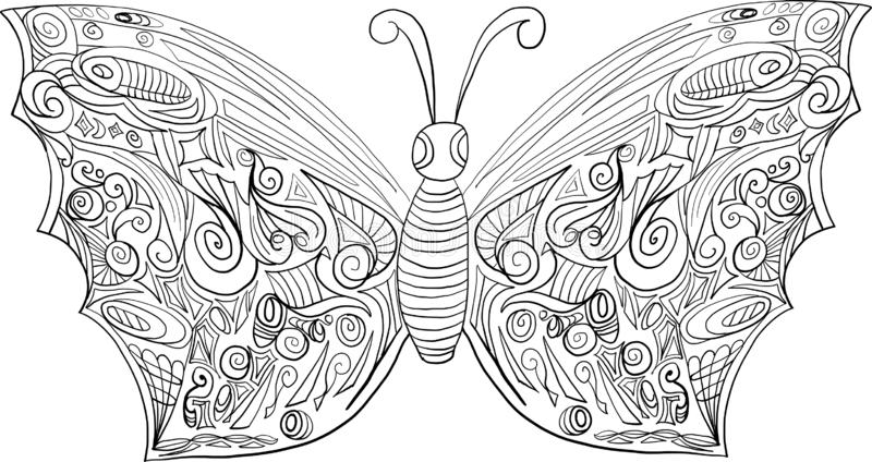 Coloring butterfly for adults and older children. A page from anti stress coloring stock illustration