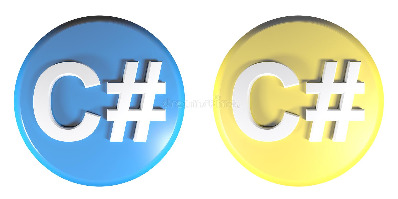 C# blue and yellow circle push buttons - 3D rendering illustration. Two circle push buttons, blue and yellow, isolated on white background, with the write C# stock illustration