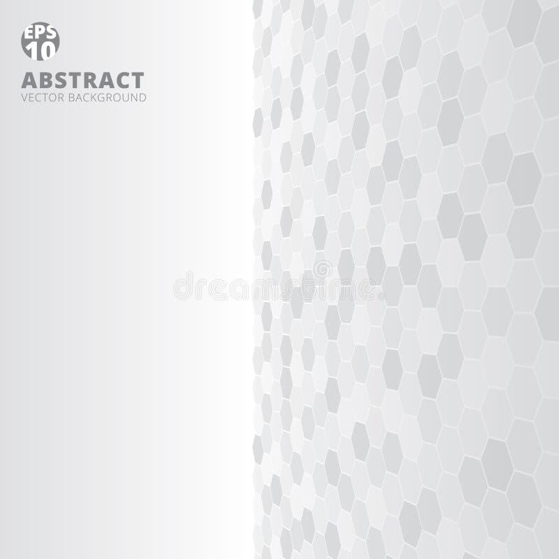 C branco e cinzento do teste padrão abstrato da perspectiva do lado direito do hexágono ilustração stock