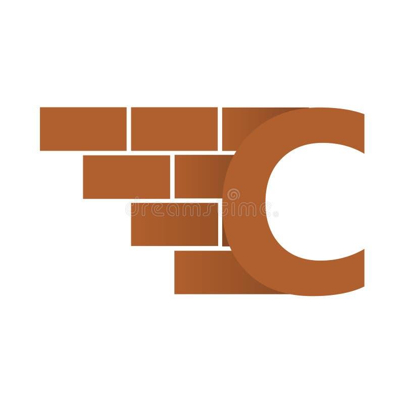 C brievenembleem, het ontwerp van het bakstenen muurembleem met plaats voor uw gegevens stock illustratie