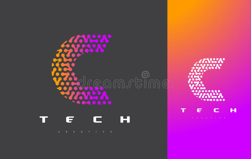 C-Buchstabe Logo Technology Verbundener Dots Letter Design Vector stock abbildung