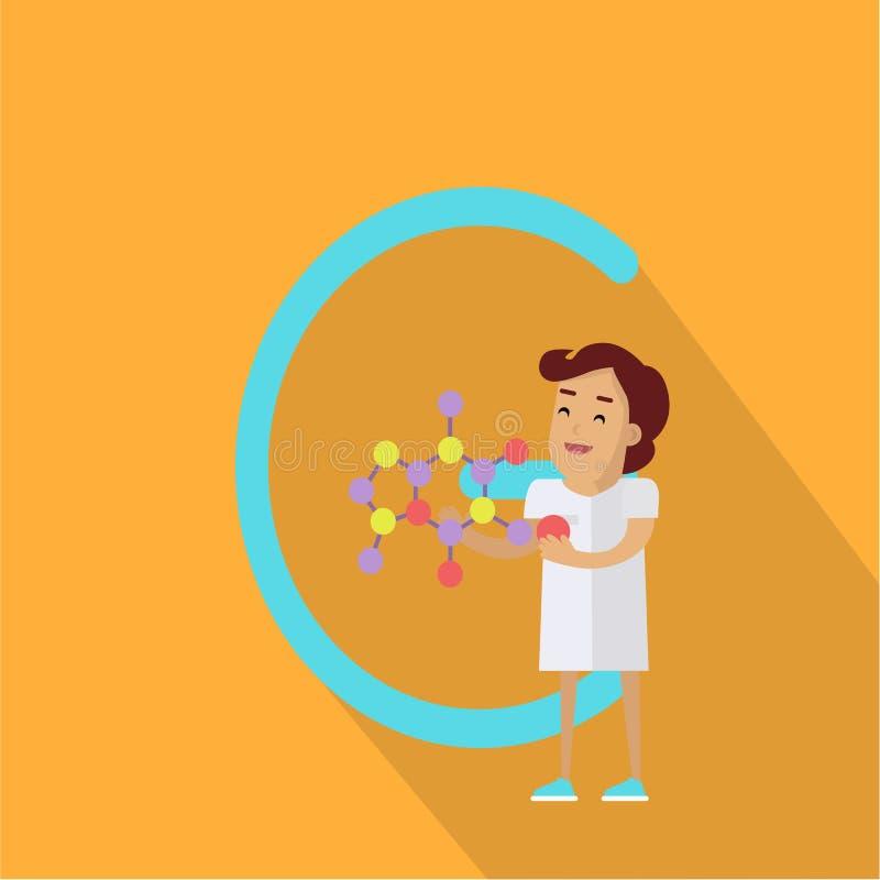 C-Buchstabe und -wissenschaftler mit chemischer Verbindung lizenzfreie abbildung