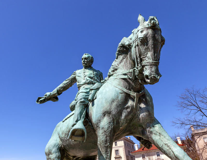 C.C. do general Philip Sheridan Statue Sheridan Circle Washington imagens de stock