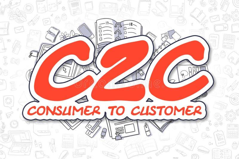 C2C - Rött ord för tecknad film äganderätt för home tangent för affärsidé som guld- ner skyen till vektor illustrationer