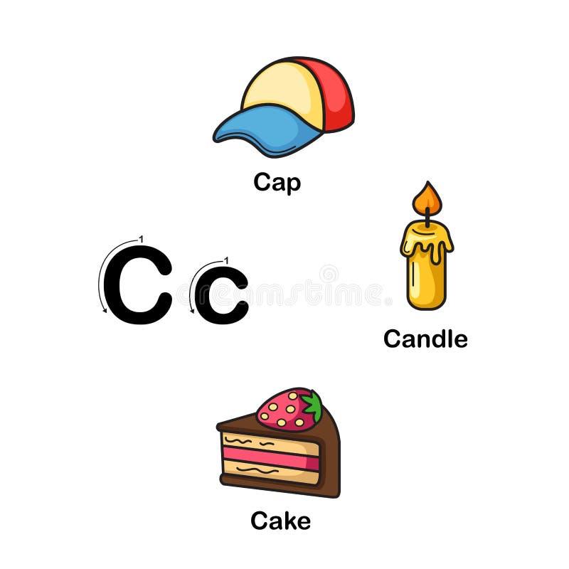 C-cappuccio della lettera di alfabeto, candela, illustrazione del dolce illustrazione di stock