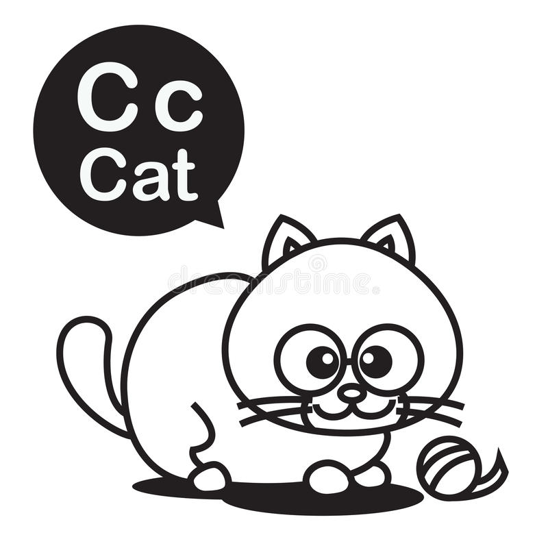C Cat Cartoon And Alphabet For Children To Learning And ...