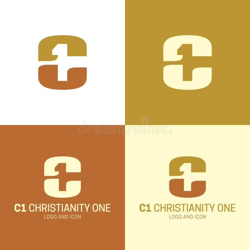 C1 chrystianizm Jeden ikona i logo r?wnie? zwr?ci? corel ilustracji wektora obrazy royalty free
