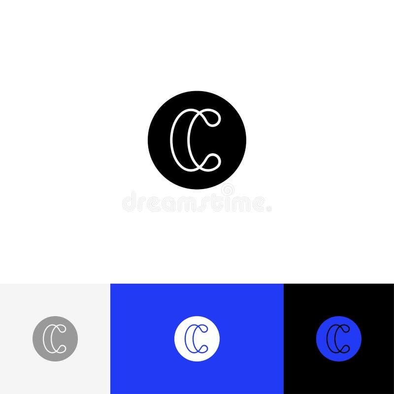 C con las líneas vector Logotipo del minimalismo, icono, símbolo, muestra de las letras c stock de ilustración