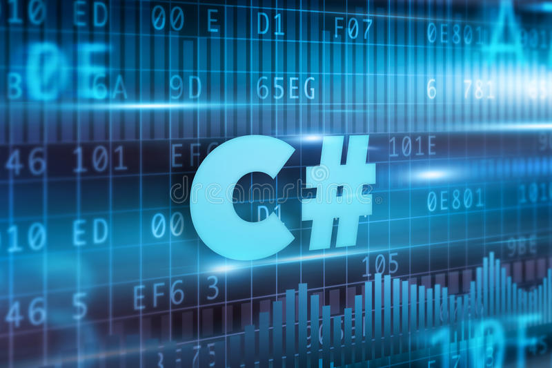C# concept. Blue background with blue text stock illustration