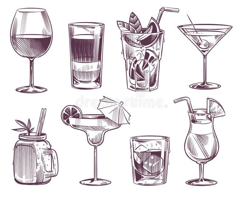 C?cteles del bosquejo Bebida exhausta del cóctel y del alcohol de la mano, diversas bebidas en el vidrio para el menú del restaur stock de ilustración