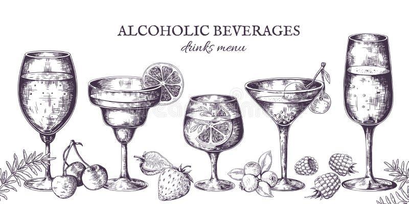 C?cteles exhaustos de la mano Bosquejo alcohólico del menú del vintage, bebidas del licor y limonadas Bebidas tropicales aisladas stock de ilustración