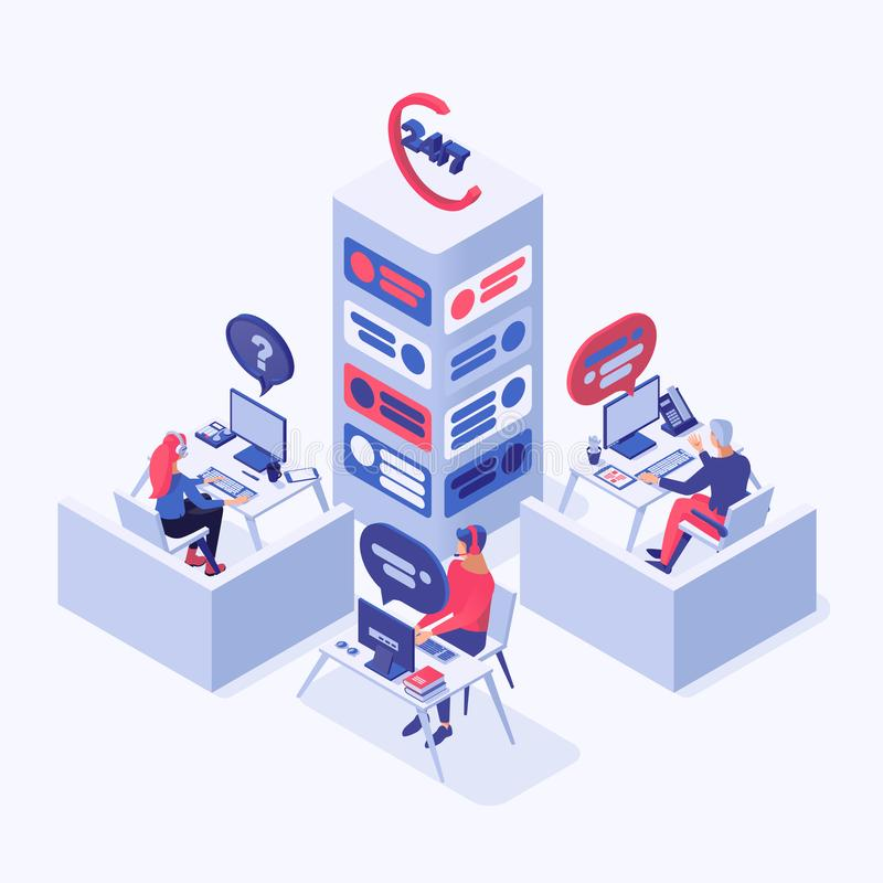 Customer service vector isometric illustration. Call center, online support, hotline operators, consultant managers 3d. C customer service vector isometric vector illustration