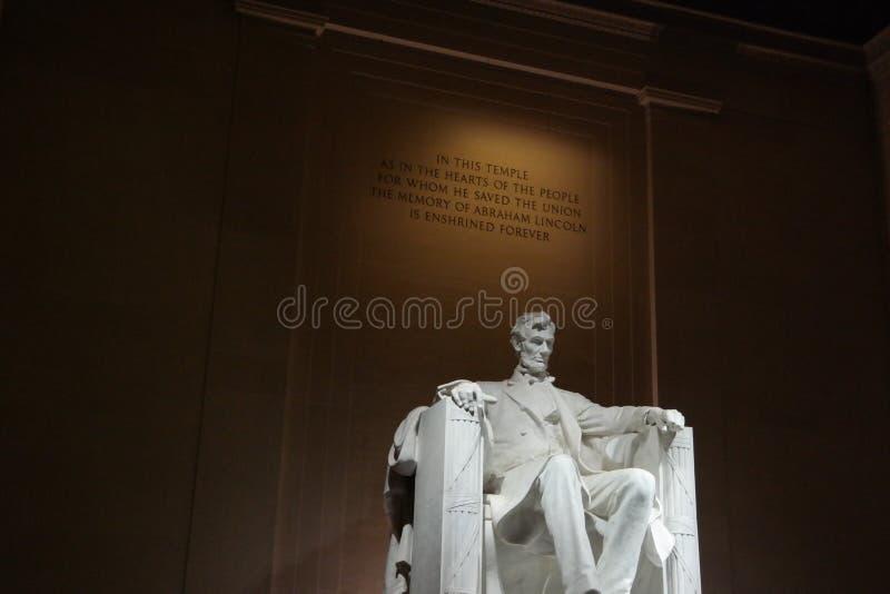 C.C de Lincoln Memorial Washington la nuit images libres de droits