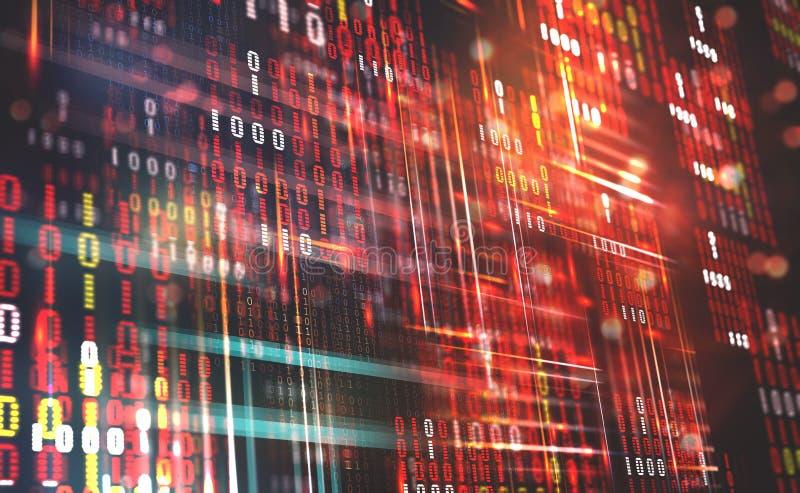 C?digo binario abstracto Datos de la nube Tecnolog?a de Blockchain stock de ilustración