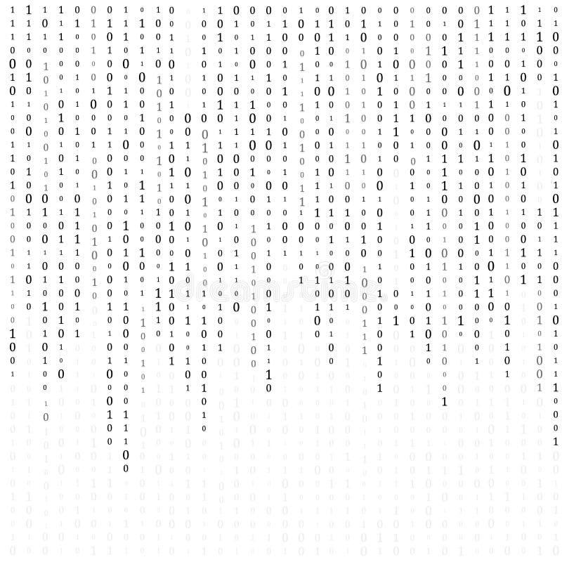 C?digo binario cero un fondo del blanco de la matriz bandera, modelo, papel pintado Ilustraci?n del vector stock de ilustración