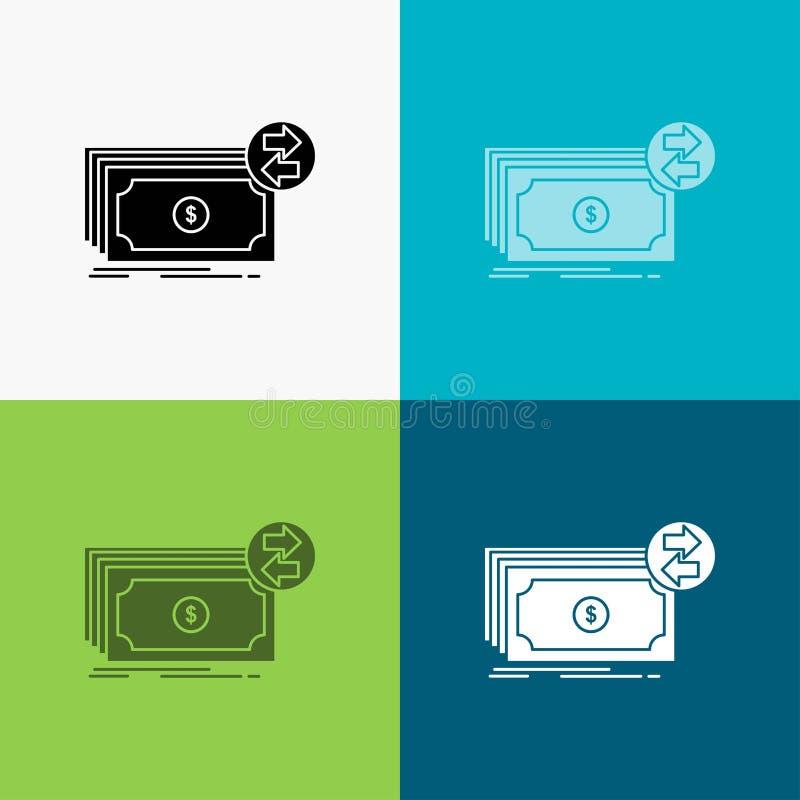 C?dulas, dinheiro, d?lares, fluxo, ?cone do dinheiro sobre o v?rio fundo projeto do estilo do glyph, projetado para a Web e o app ilustração do vetor