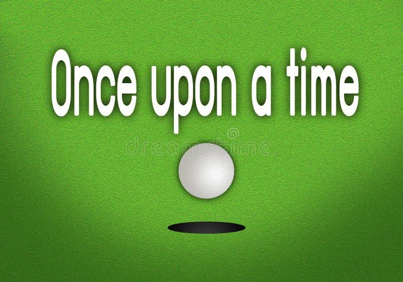 C'era una volta Golfball messo che cade nella The Cup illustrazione di stock