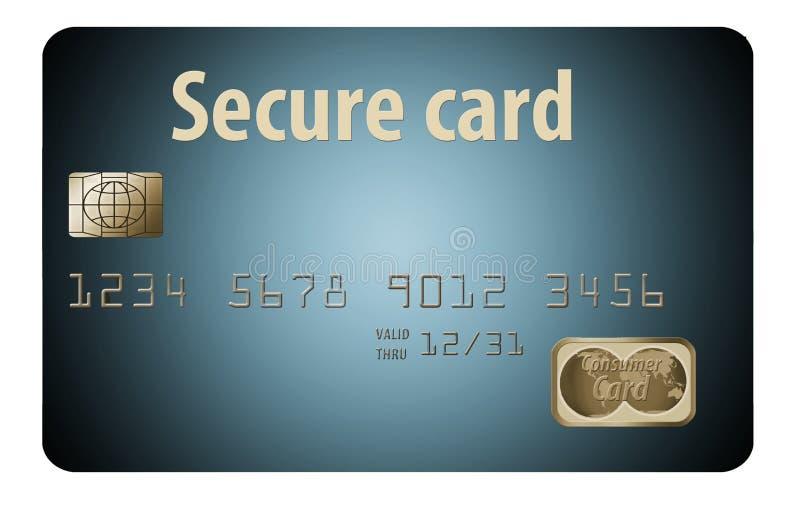 C'est au sujet de la sécurité de carte de crédit, montrant une carte de crédit verrouillée avec un câble de cadenas et d'acier illustration libre de droits