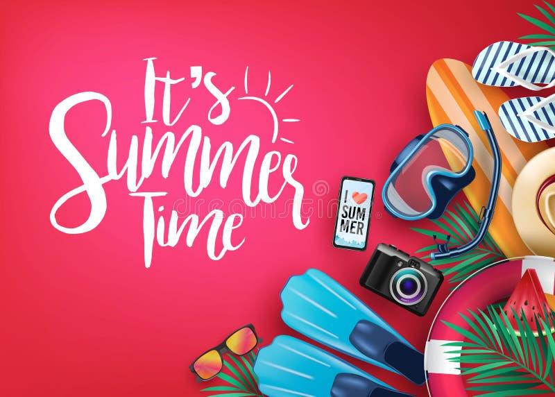 C'est bannière réaliste de vecteur d'heure d'été à l'arrière-plan rouge et aux éléments tropicaux illustration stock
