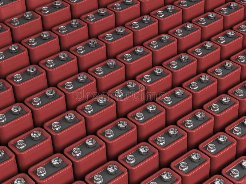 C'est beaucoup de batterie 9v illustration libre de droits