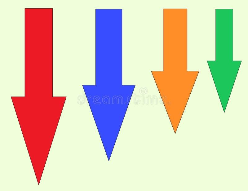 C'est l'image des beaucoup la flèche dans laquelle beaucoup la couleur ont été employées illustration de vecteur