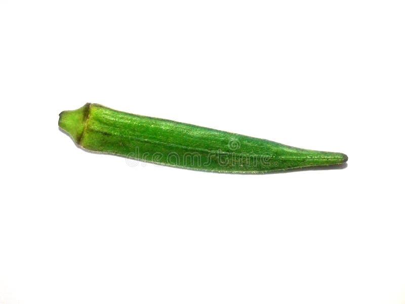 C'est l'image du jeune gombo vert frais d'isolement dessus avec le fond images stock