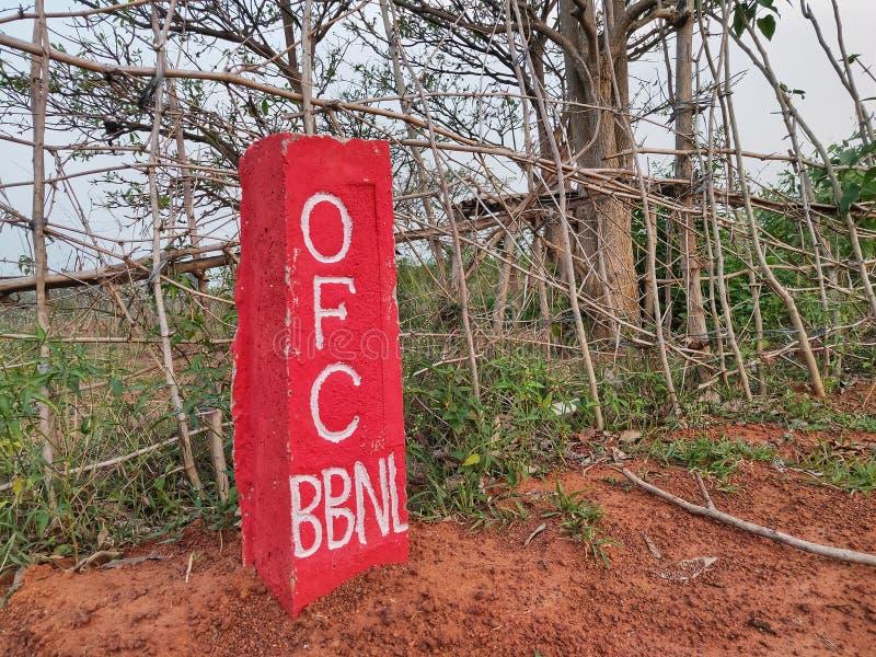c'est la marque du réseau optique de fibre de BharatNet, aussi Bharat Broadband Network Limited images stock