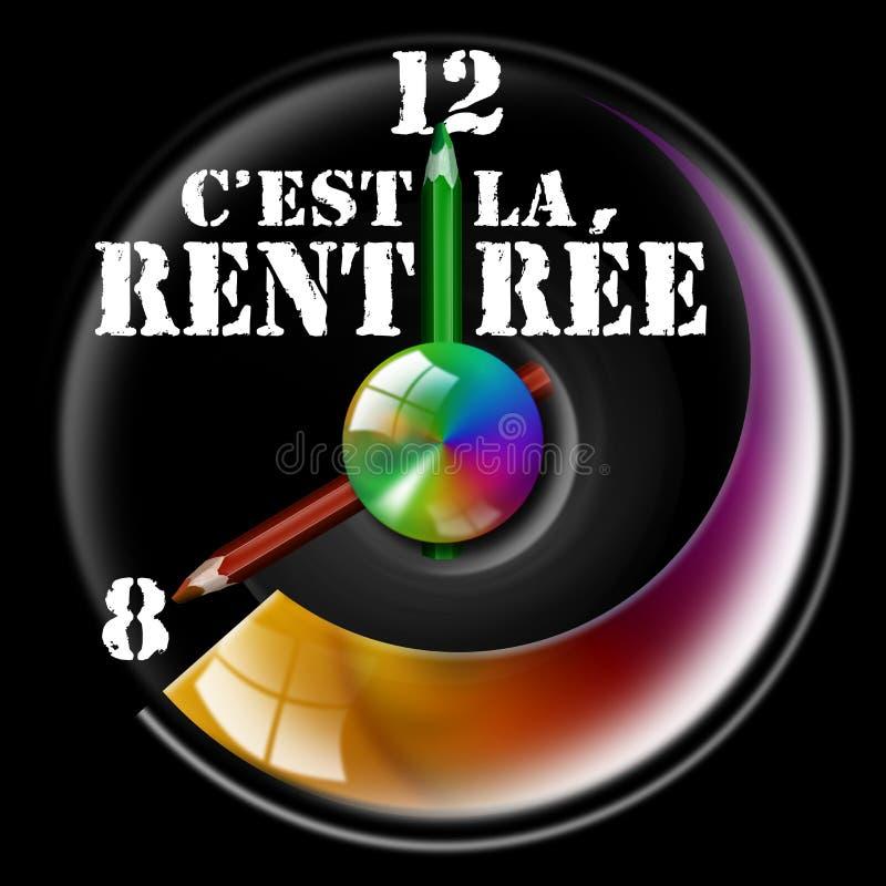 C'est la rentrée. Clock Illustration with hands shaped like pencils and written c'est la rentrée stock illustration