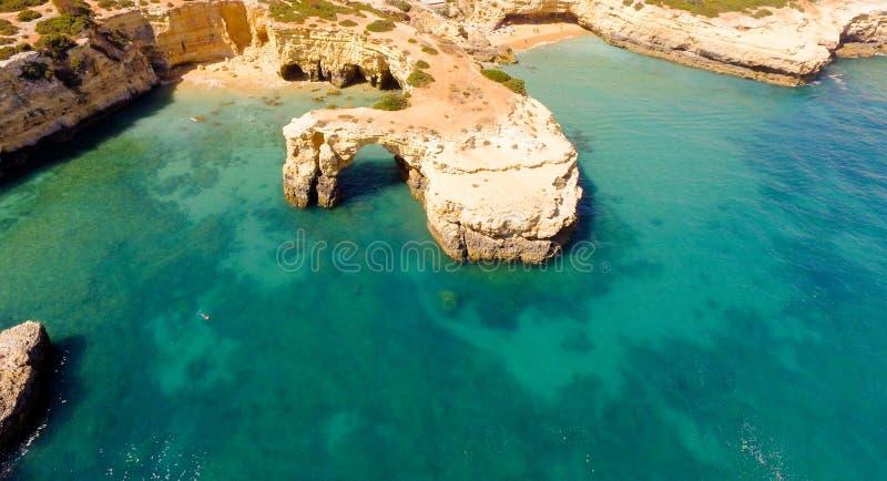 C'est le Praia DA Albandeira dans Lagoa images libres de droits
