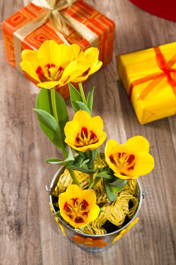 C'est les tulipes et les cadres de cadeau jaunes rouges photographie stock libre de droits