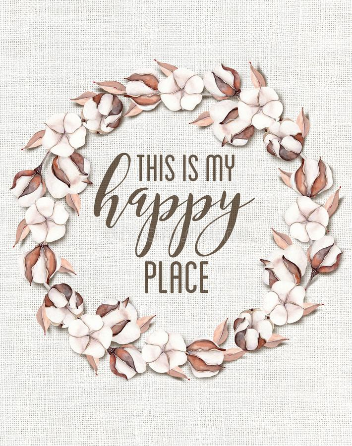 C'est ma guirlande florale de coton heureux d'endroit avec le fond chic minable en bois illustration stock
