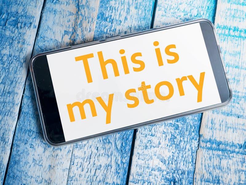 C'est mon histoire, citations inspirées de motivation d'affaires, lettrage de vue supérieure de typographie de mots image libre de droits