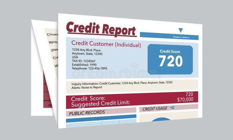C'est un générique, faux, rapport de crédit illustration stock