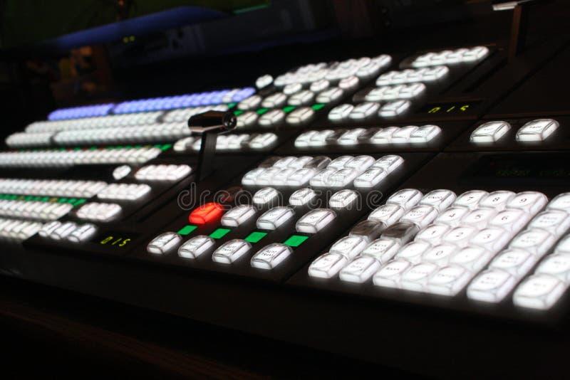 C'est un macro tir d'un tableau de commande sain de mélange de station de radio de la vidéo TV photo stock